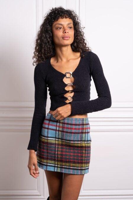 Gilet tricoté en cachemire noir avec anneaux argents LORE - MaisonCléo