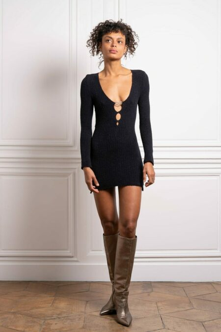 ELISE cashmere long sleeves mini knitted dress - MaisonCléo