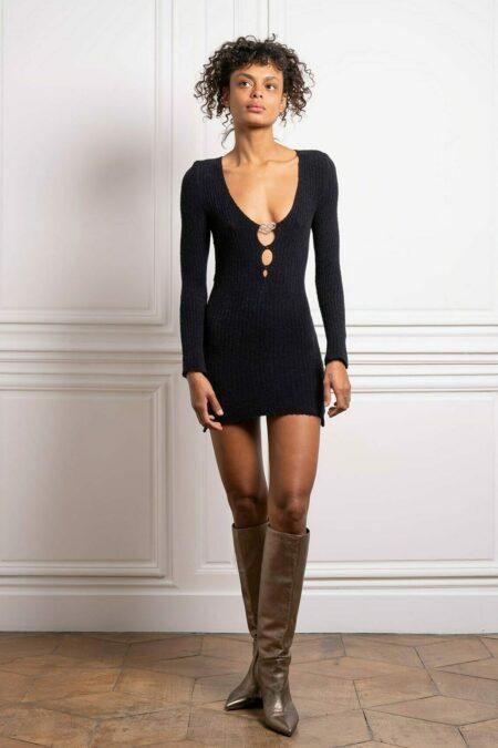 Robe tricotée manches longues en cachemire Elise - MaisonCléo