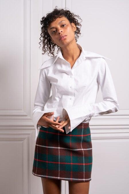 Cléo long sleeves white cotton shirt - MaisonCléo