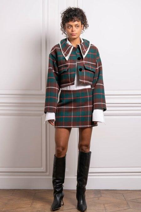 Oana plaid green checked wool jacket - MaisonCléo