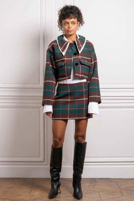 Veste en laine à carreaux verts plaid OANA - MaisonCléo