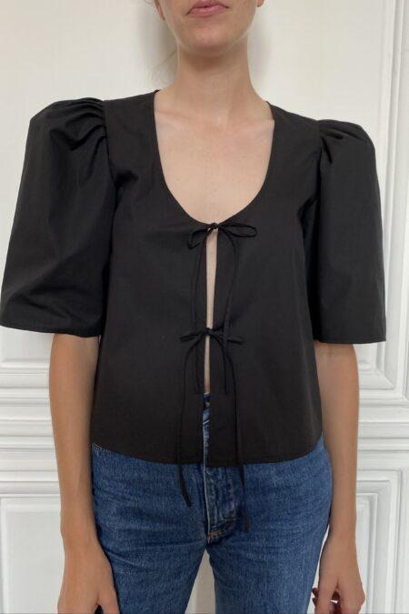 READY TO SHIP - AGNÈS black cotton blouse - MaisonCléo